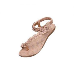 Fortan Damen bequeme Sommer Böhmen Sandalen Klippzehe Beachshoes Herringbone Schuhe (EU=41, Khaki)