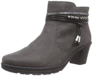 Rieker 54953, Damen Kurzschaft Stiefel, Grau (fumo/schwarz-silber/schwarz/45), 39 EU (6 Damen UK)