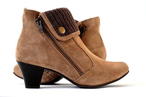 Damen Stiefeletten echtes Wildleder | Ankle Boots Leder braun High Heels (38)