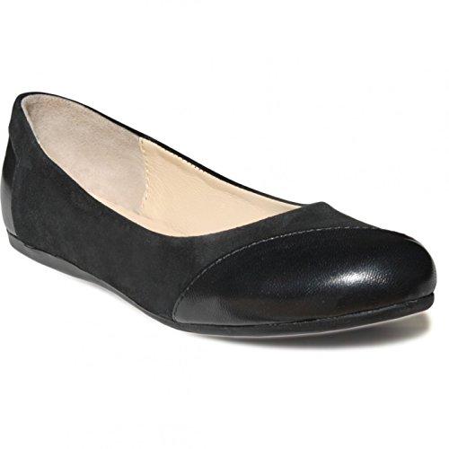 Ballerinas Lederschuhe aus Wildleder in schwarz, Größe:38