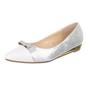 Damen Schuhe, L5134, BALLERINAS, PUMPS, Synthetik in hochwertiger Lederoptik und Lacklederoptik, Weiß, Gr 38