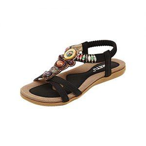 Fortan Damen Sommer-böhmische Bunte Perlen Sandalen Schuhe (EU=42, Schwarz)