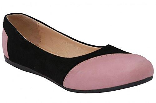Ballerinas Lederschuhe aus Wildleder & Glattleder in schwarz/rosa, Größe:40