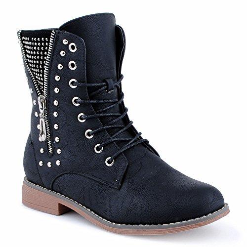 Damen Stiefeletten Stiefel Nieten Reißverschluss Blockabsatz Schnür Biker Boots Schuhe Schwarz EU 39